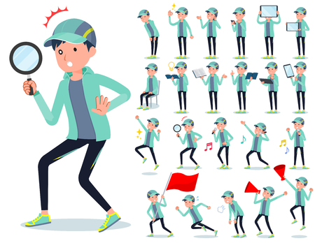 A set of men in sportswear with digital equipment such as smartphones.There are actions that express emotions.It's vector art so it's easy to edit. Vektorgrafik