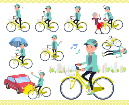 A set of men in sportswear riding a city cycle.There are actions on manners and troubles.It's vector art so it's easy to edit. Vectores