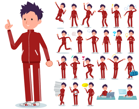 A set of school boy in sportswear with who express various emotions.There are actions related to workplaces and personal computers.It's vector art so it's easy to edit.