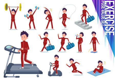 A set of school boy in sportswear on exercise and sports.There are various actions to move the body healthy.It's vector art so it's easy to edit.