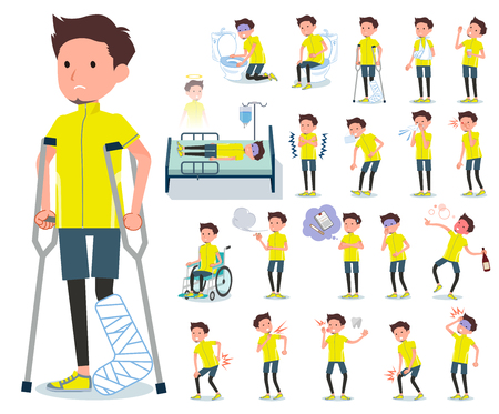 A set of man in sportswear with injury and illness.There are actions that express dependence and death.It's vector art so it's easy to edit. Vector Illustratie
