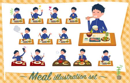 Eine Reihe von Schuljungen in Sportkleidung über Mahlzeiten. Japanische und chinesische Küche, Gerichte im westlichen Stil usw. Es handelt sich um Vektorgrafiken, die leicht zu bearbeiten sind.