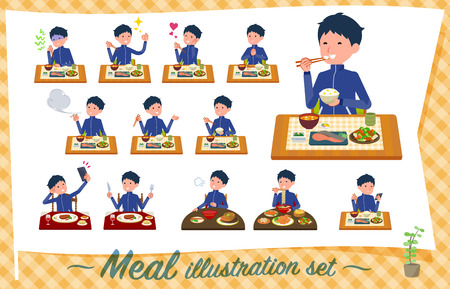 A set of school boy in sportswear about meals.Japanese and Chinese cuisine, Western style dishes and so on.It's vector art so it's easy to edit.