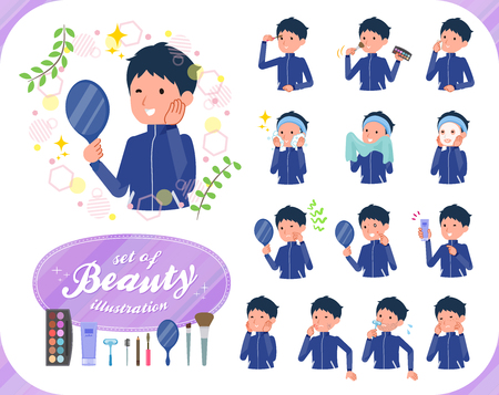 A set of school boy in sportswear on beauty.There are various actions such as skin care and makeup.Its vector art so its easy to edit.