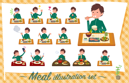 A set of school boy in sportswear about meals.Japanese and Chinese cuisine, Western style dishes and so on.Its vector art so its easy to edit.
