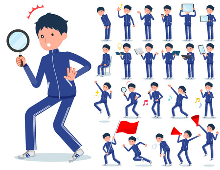 A set of school boy in sportswear with digital equipment such as smartphones.There are actions that express emotions.It's vector art so it's easy to edit. Illustration