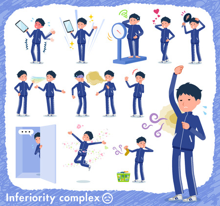 A set of school boy in sportswear on inferiority complex.There are actions suffering from smell and appearance.It's vector art so it's easy to edit.