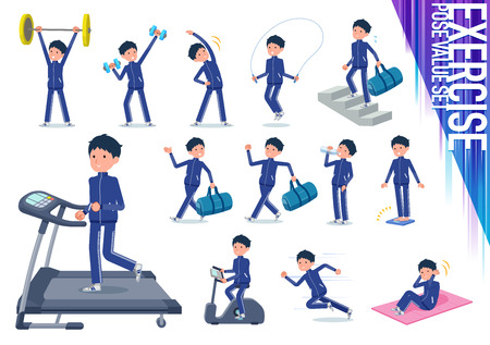 A set of school boy in sportswear on exercise and sports.There are various actions to move the body healthy.Its vector art so its easy to edit. Illustration