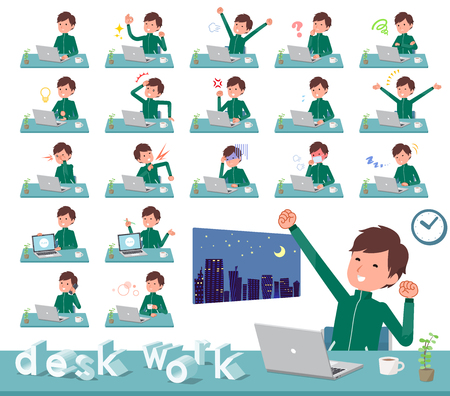 A set of school boy in sportswear on desk work.There are various actions such as feelings and fatigue.It's vector art so it's easy to edit. Illustration