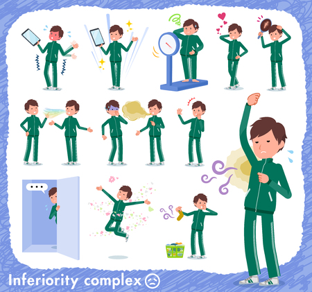 A set of school boy in sportswear on inferiority complex.There are actions suffering from smell and appearance.Its vector art so its easy to edit. Çizim
