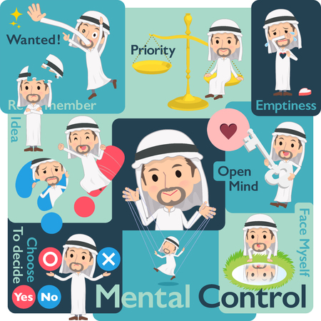 A set of Arabian men who control emotions.A variety of image illustrations expressing self emotion.It's vector art so it's easy to edit.