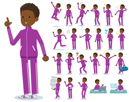A set of school boy in sportswear with who express various emotions.There are actions related to workplaces and personal computers.It's vector art so it's easy to edit. Banque d'images - 118683023