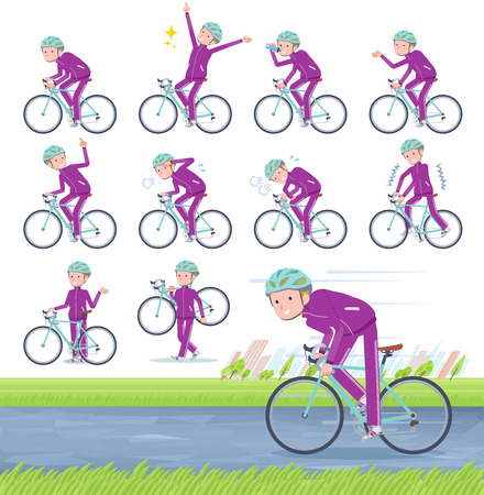 A set of school boy in sportswear on a road bike.There is an action that is enjoying.It's vector art so it's easy to edit.