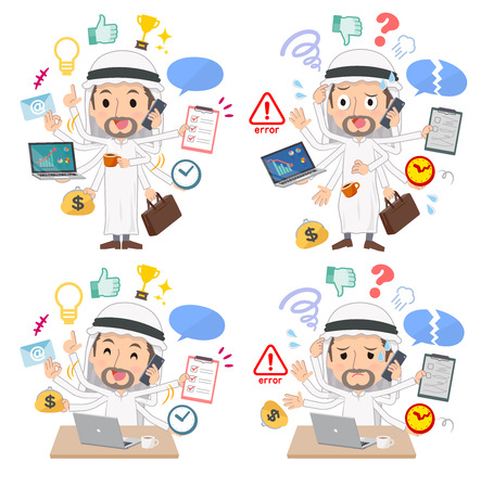 A set of Arabian men who perform multitasking in the office.There are things to do smoothly and a pattern that is in a panic.It's vector art so it's easy to edit.