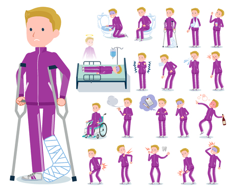 A set of school boy in sportswear with injury and illness.There are actions that express dependence and death.It's vector art so it's easy to edit. Vector Illustratie