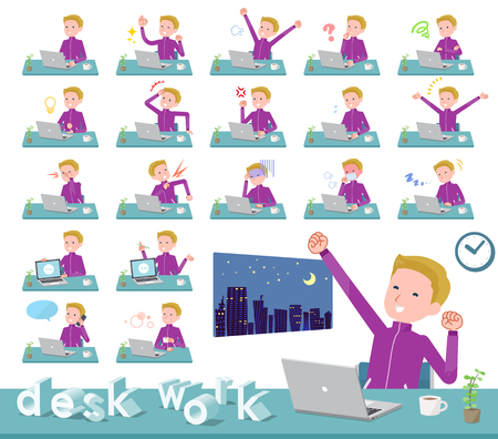 A set of school boy in sportswear on desk work.There are various actions such as feelings and fatigue.Its vector art so its easy to edit.