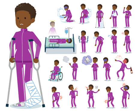 A set of school boy in sportswear with injury and illness.There are actions that express dependence and death.It's vector art so it's easy to edit.