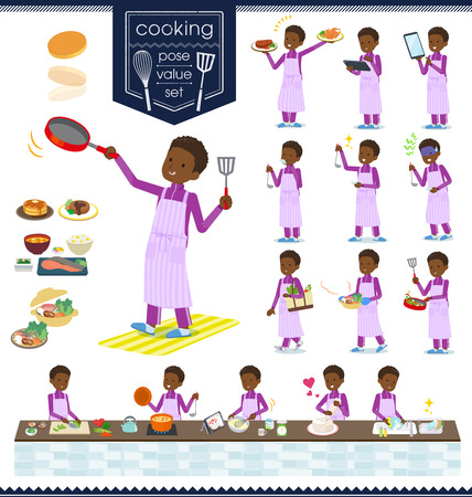 A set of school boy in sportswear about cooking.There are actions that are cooking in various ways in the kitchen.It's vector art so it's easy to edit.