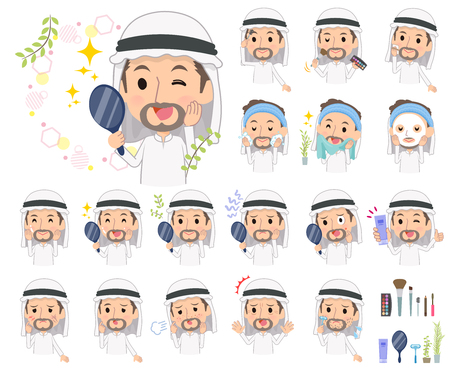 A set of Arabian men on beauty.There are various actions such as skin care and makeup.Its vector art so its easy to edit.