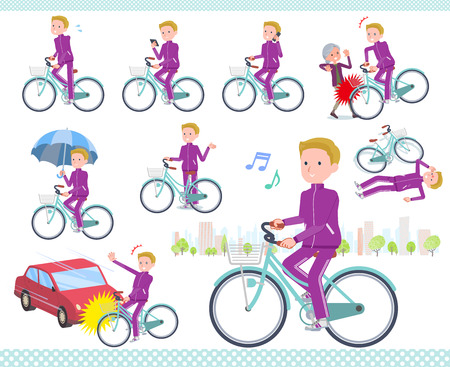 A set of school boy in sportswear riding a city cycle.There are actions on manners and troubles.It's vector art so it's easy to edit. Illustration