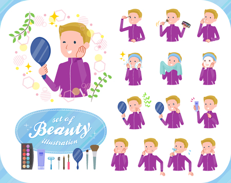 A set of school boy in sportswear on beauty.There are various actions such as skin care and makeup.It's vector art so it's easy to edit.