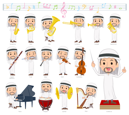 A set of Arabian men on classical music performances.There are actions to play various instruments such as string instruments and wind instruments.Its vector art so its easy to edit.