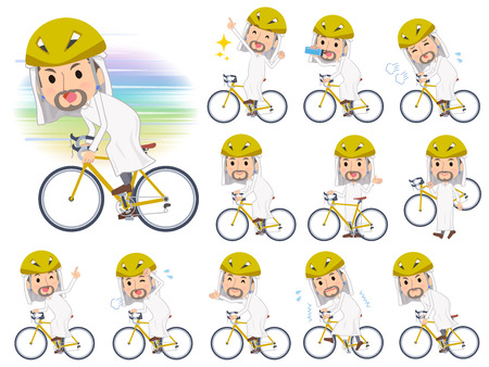 A set of Arabian men on a road bike.There is an action that is enjoying.It's vector art so it's easy to edit.