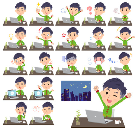A set of Chinese men on desk work.There are various actions such as feelings and fatigue.Its vector art so its easy to edit.