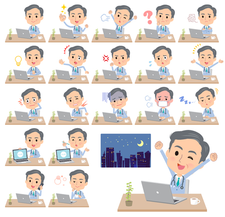 A set of doctor man on desk work.There are various actions such as feelings and fatigue.It's vector art so it's easy to edit.