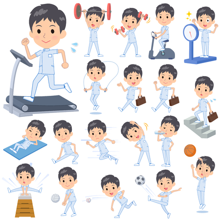 A set of chiropractor man on exercise and sports.There are various actions to move the body healthy.Its vector art so its easy to edit.