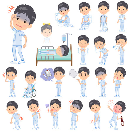 A set of chiropractor man with injury and illness.There are actions that express dependence and death.Its vector art so its easy to edit.