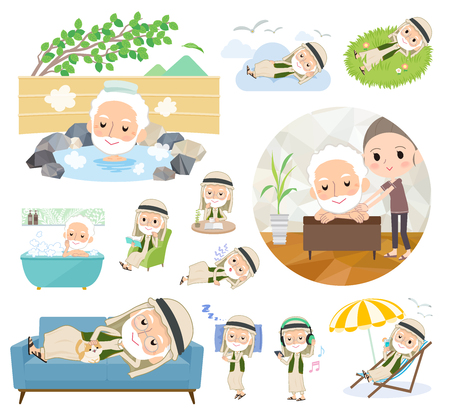 A set of Arabian old men about relaxing.There are actions such as vacation and stress relief.It's vector art so it's easy to edit. 向量圖像