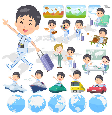 A set of chiropractor man on travel.There are also vehicles such as boats and airplanes.It's vector art so it's easy to edit.