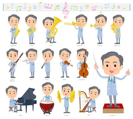 A set of doctor man on classical music performances.There are actions to play various instruments such as string instruments and wind instruments.Its vector art so its easy to edit.