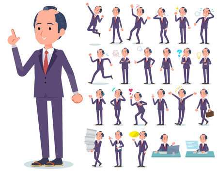 A set of japanese samurai businessman with who express various emotions.There are actions related to workplaces and personal computers.It's vector art so it's easy to edit. Stock Illustratie