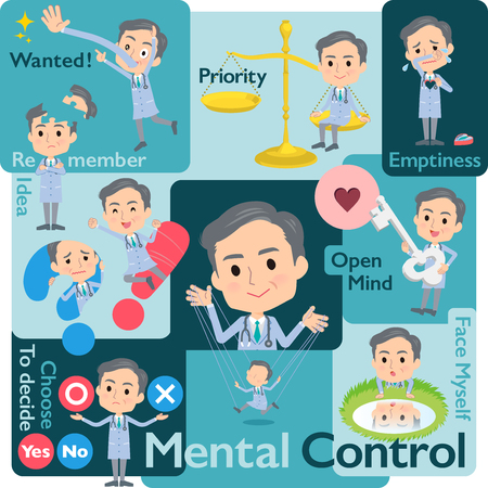 A set of doctor man who control emotions.A variety of image illustrations expressing self emotion.Its vector art so its easy to edit.