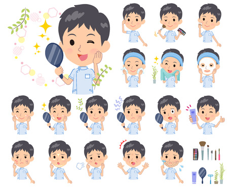 A set of chiropractor man on beauty.There are various actions such as skin care and makeup.Its vector art so its easy to edit.  イラスト・ベクター素材
