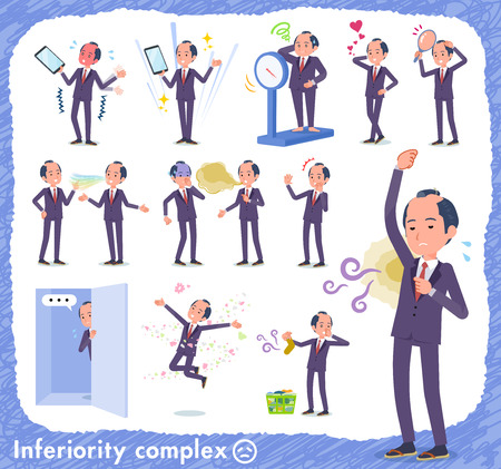A set of japanese samurai businessman on inferiority complex.There are actions suffering from smell and appearance.It's vector art so it's easy to edit.