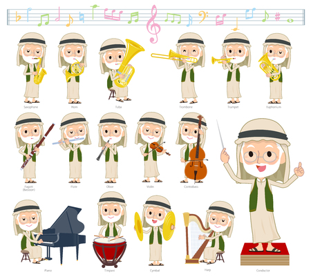 A set of Arabian old men on classical music performances.There are actions to play various instruments such as string instruments and wind instruments.It's vector art so it's easy to edit. Vettoriali