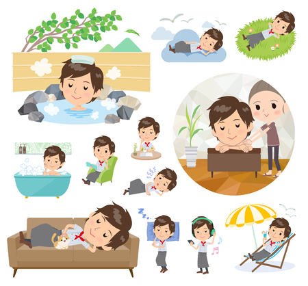 A set of Chef men about relaxing.There are actions such as vacation and stress relief.It's vector art so it's easy to edit. Ilustração