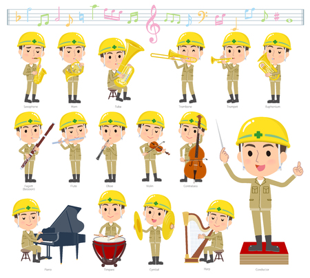 A set of working man on classical music performances.There are actions to play various instruments such as string instruments and wind instruments.Its vector art so its easy to edit.