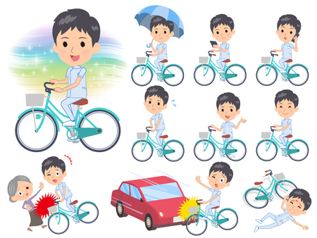 A set of chiropractor man riding a city cycle.There are actions on manners and troubles.Its vector art so its easy to edit.
