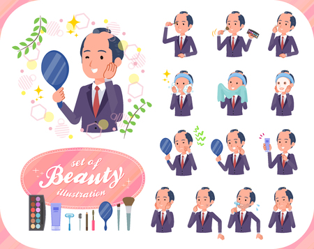 A set of japanese samurai businessman on beauty.There are various actions such as skin care and makeup.It's vector art so it's easy to edit. 写真素材 - 119410796
