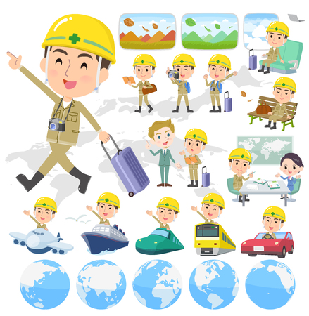 A set of working man on travel.There are also vehicles such as boats and airplanes.It's vector art so it's easy to edit.