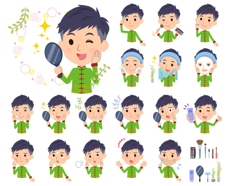 A set of Chinese men on beauty.There are various actions such as skin care and makeup.It's vector art so it's easy to edit.