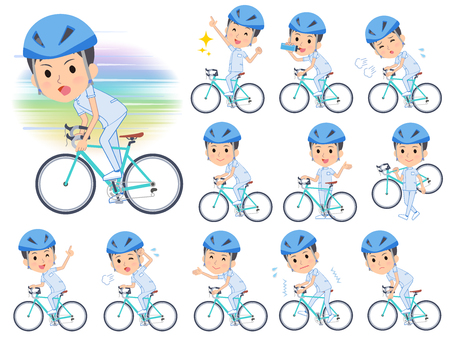 A set of chiropractor man on a road bike.There is an action that is enjoying.It's vector art so it's easy to edit. Ilustração