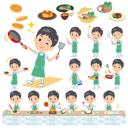 A set of chiropractor man about cooking.There are actions that are cooking in various ways in the kitchen.Its vector art so its easy to edit.