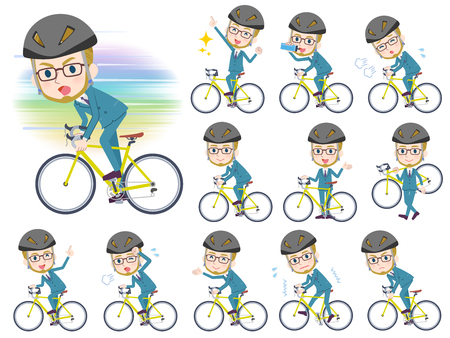 A set of Businessman on a road bike.There is an action that is enjoying.It's vector art so it's easy to edit.