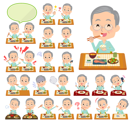 A set of patient old man about meals.Japanese and Chinese cuisine, Western style dishes and so on.Its vector art so its easy to edit.