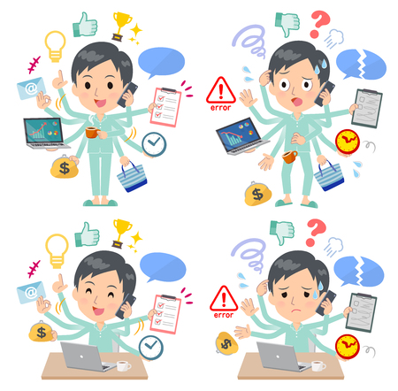 A set of patient young man who perform multitasking in the office.There are things to do smoothly and a pattern that is in a panic.It's vector art so it's easy to edit.